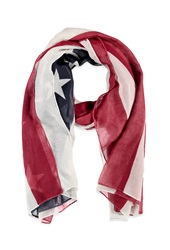 Forever 21 American Flag Print Scarf Red Cream