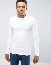 Asos Extreme Muscle Long Sleeve T Shirt With Crew Neck White