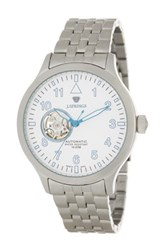 Brooks Brothers Men's Semi Skeleton Automatic Bracelet Watch Metallic