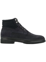 Fabi Lace Up Boots Suede Leather Rubber Wool Blue