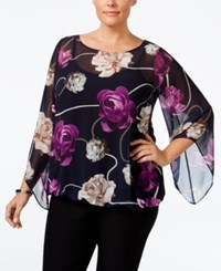 Alfani Plus Size Chiffon Angel Sleeve Blouse Only At Macy's Floral Ribbon Navy