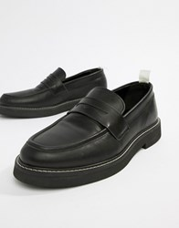 Asos Design Loafers In Black Leather With Chunky Sole