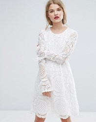 Vila Premium Cutwork Lace Fluted Sleeve Smock Dress White