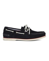 Tommy Hilfiger Navy Blue Suede Knot Boat Shoes