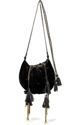 Ulla Johnson Fleur Embellished Embroidered Velvet Shoulder Bag Black