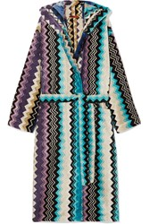 Missoni Home Hooded Cotton Terry Robe Blue