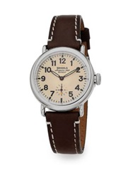 Shinola Runwell Stainless Steel And Leather Strap Watch Dark Brown Silver Brown