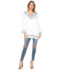 Bindya Boho Tassels Long Sleeve Tunic White Women's Blouse
