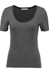 Michael Kors Collection Herringbone Cashmere Top Anthracite