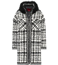 Moncler Gamme Rouge Ludmilla Shearling Trimmed Coat Black