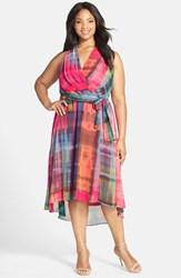 Plus Size Women's Chetta B. Halter Dress With High Low Hem Pink Multi