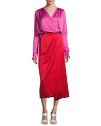 Attico Satin Bicolor Wrap Midi Dress Red Pink Red Pink