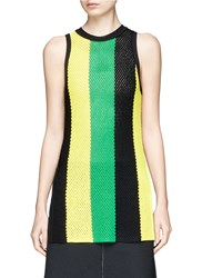 Proenza Schouler Stripe Open Mesh Knit Tank Top Multi Colour