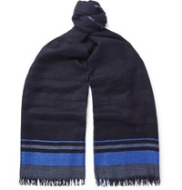 Begg And Co Staffa Fringed Striped Cashmere Silk Blend Scarf Navy