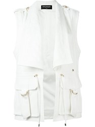 Balmain Sleeveless Jacket White