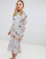 Hope And Ivy Long Sleeve Open Back Printed Midi Dress With Delicate Lace Trim Grey Base Bird Multi