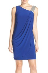 Women's Betsy And Adam Embellished Strap Ruched Sheath Dress