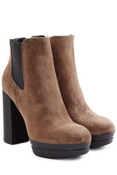 Hogan Suede Platform Ankle Boots Brown