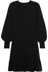 Co Ruffled Wool And Cashmere Blend Sweater Dress Black