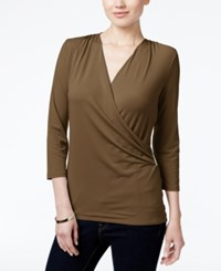 Charter Club Petite Printed Faux Wrap Top Created For Macy's Salty Nut