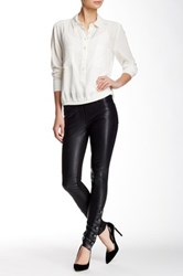 Nicole Miller Double Face Genuine Leather Front Pant Black