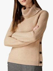 Jaeger Cowl Neck Button Wool Jumper Camel