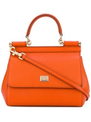 Dolce And Gabbana Small Sicily Tote Women Calf Leather One Size Yellow Orange
