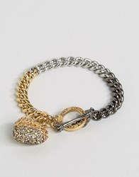 Juicy Couture Champagne Ombre Heart And Chain Bracelet Champagne Gold
