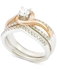 Macy's Diamond Bridal Set 3 4 Ct. T.W. In 14K White Gold With Rose Gold Plating Two Tone