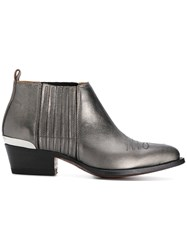 Buttero Western Style Boots Calf Leather Leather Grey