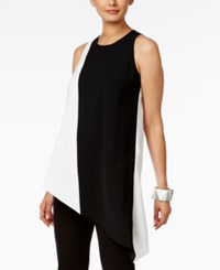 Alfani Colorblocked Asymmetrical Tunic Only At Macy's Deep Black