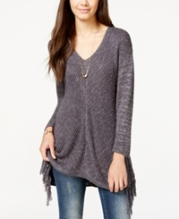 American Rag Juniors' V Neck Fringe Sweater Only At Macy's Ebony Combo