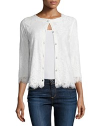 Michael Simon 3 4 Sleeve Lace Cardigan Ivory