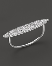 Meira T 14K White Gold Elongated Oval Pave Diamond Ring .34 Ct. T.W.