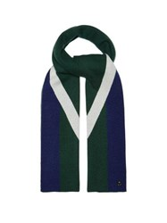 Charlotte Simone Striped Wool And Cashmere Blend Scarf Green