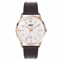 Henry London 41Mm Men's Richmond Leather Strap Watch Black White Rose Gold