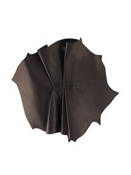 Vionnet Pleated Leather Brooch Black
