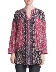 Plenty By Tracy Reese Floral Print Henley Tunic Black