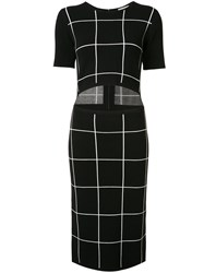Grey Jason Wu Slit Waist Checked Dress Women Viscose S Black