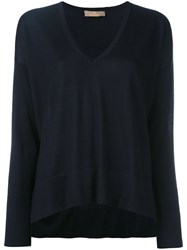 Cruciani Slit Sides V Neck Jumper Women Silk Cashmere 44 Blue