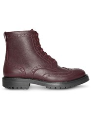 Burberry Brogue Detail Grainy Leather Boots Red