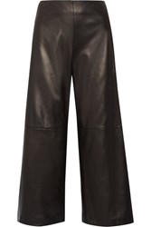 Adam By Adam Lippes Cropped Leather Wide Leg Pants Black