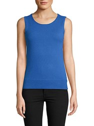 Saks Fifth Avenue Cashmere Rolled Crewneck Shell Bright Blue