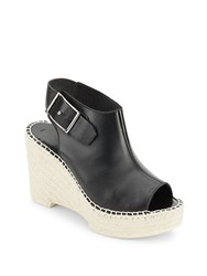 Mcq By Alexander Mcqueen Peep Toe Espadrille Wedge Sandals Black