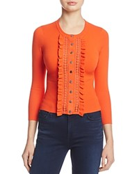 Karen Millen Ruffle Cardigan 100 Exclusive Orange