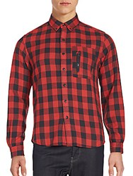 Burkman Bros Plaid Double Pocket Sportshirt Red