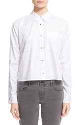 Alexander Wang Snap Closure Cropped Cotton Shirt White