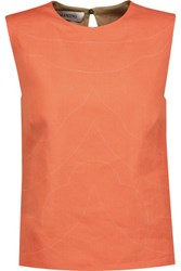 Valentino Embroidered Linen Top Coral