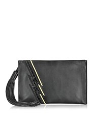 Roberto Cavalli Evening Lightning Patchwork Black Leather Clutch