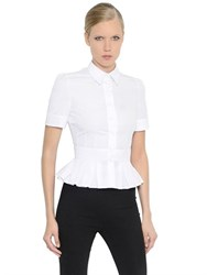 Alexander Mcqueen Ruffled Cotton Poplin And Pique Shirt